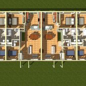 3D 4 PLEX FLOOR PLAN - Internal Rendering from above