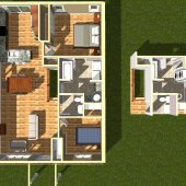 3D FLOOR PLAN - Internal Rendering one unit from above
